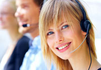 Pretty blonde customer service worker with headset.